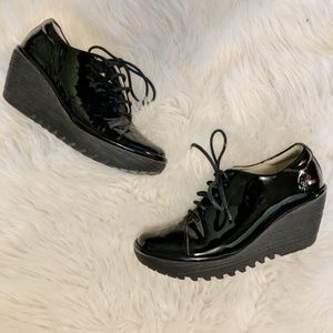 Fly London black patent leather lace up shoes